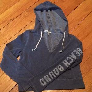 Victoria's Secret crop terry hooded sweatshirt